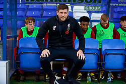 BIRKENHEAD, ENGLAND - Wednesday, November 1, 2017: Liverpool's Under-18 manager Steven Gerrard in the dug-out before the UEFA Youth League Group E match between Liverpool and NK Maribor at Prenton Park. (Pic by David Rawcliffe/Propaganda)