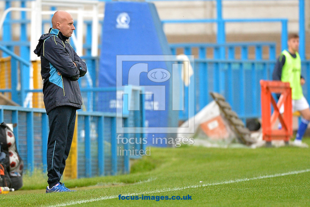 Lowestoft Town manager Ady Gallagher during the Conference North match at Bower Fold, Stalybridge<br /> Picture by Ian Wadkins/Focus Images Ltd +44 7877 568959<br /> 12/09/2015