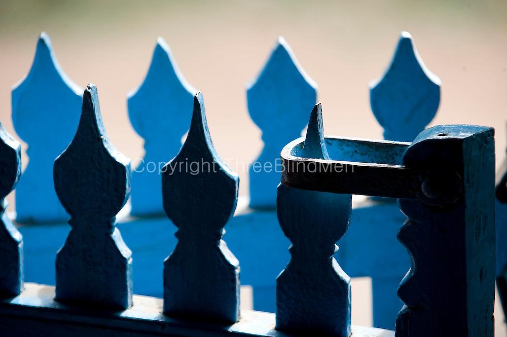 Blue railing. House in Thittacheri.<br /> Tamil Nadu. South India.