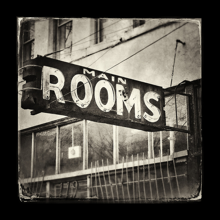 "Charles Blackburn image of a hotel sign in Vancouver, BC. 5x5"" print."