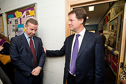 © Licensed to London News Pictures. 17/09/2012. London, UK.  Secretary of State for Education Michael Gove and Deputy Prime Minister Nick Clegg during a visit to Burlington Danes Academy in West London on September 17, 2012. The education secretary has announced plans to launch a non-tiered new exam system that will replace GCSEs after the next general election in 2015. Photo credit : Ben Cawthra/LNP