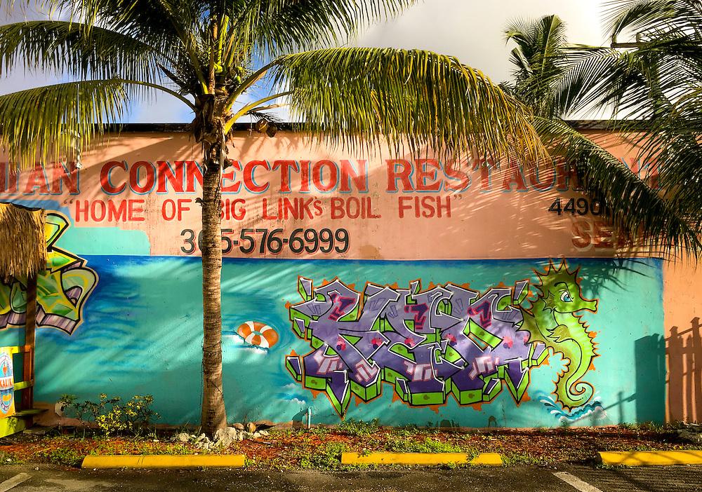 Graffiti style mural on a Bahamanian restaurant in Miami's Buena Vista West neighborhood just north of Wynwood