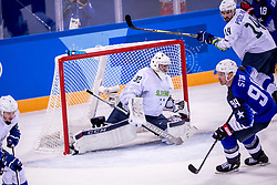 GANGNEUNG, SOUTH KOREA - FEBRUARY 14:  goaltender Gasper Kroselj #32 of Slovenia, Matic Podlipnik of Slovenia during Ice Hockey match between Slovenia and USA in the Men's Ice Hockey Preliminary Round Group B at Gangneung Hockey Centre on February 14, 2018 in Gangneung, South Korea. Photo by Ronald Hoogendoorn / Sportida