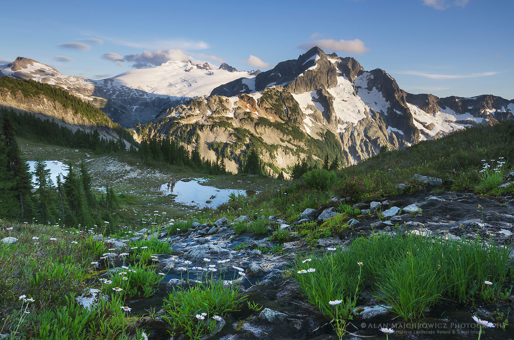 Mount Challenger and Whatcom Peak seen from Tapto Lakes Basin on Red Face Peak, North Cascades National Park
