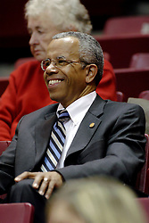 06 December 2006: Illinois State University President Dr. Al Bowman attends most athletic events on campus. In a non-conference game, the Cardinals of Ball State visited the Redbirds home at Redbird Arena in Normal Illinois on the campus of Illinois State University.<br />