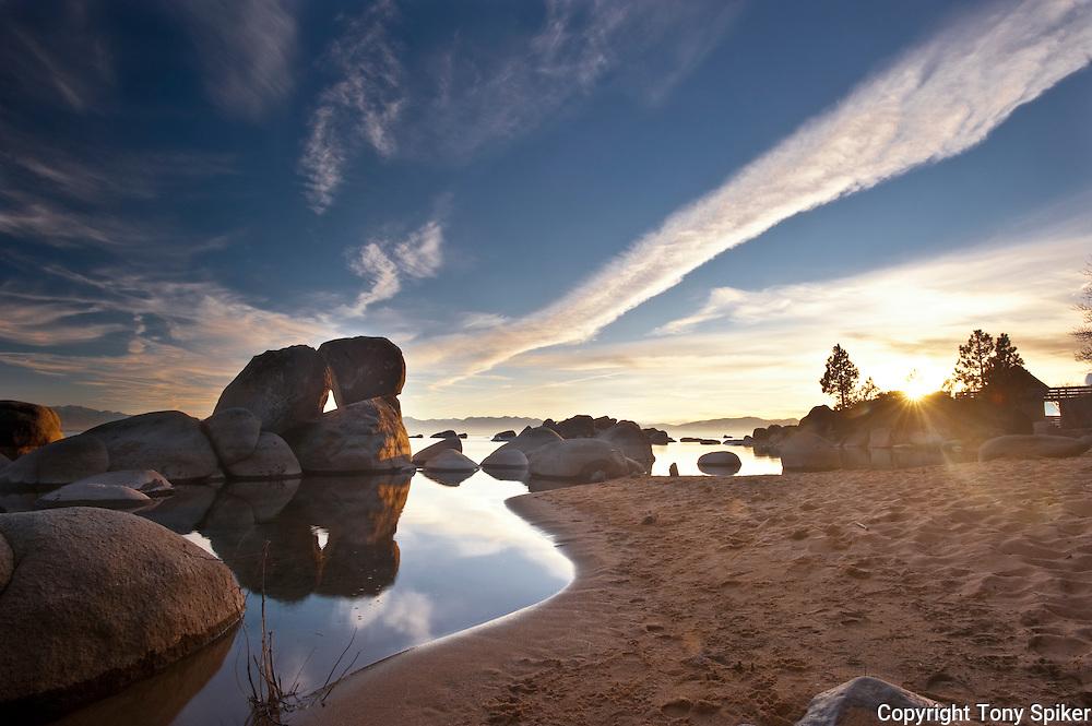 """Speedboat Beach Sunset 1"" - The sun sets over Lake Tahoe at Speedboat Beach, California"