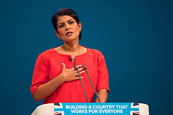 © Licensed to London News Pictures. 03/10/2017. Manchester, UK. Secretary of State for International Development PRITI PATEL speaking on day three of the Conservative Party Conference. The four day event is expected to focus heavily on Brexit, with the British prime minister hoping to dampen rumours of a leadership challenge. Photo credit: Ben Cawthra/LNP