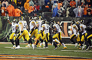 The Pittsburgh Steelers run off the field in celebration after winning the NFL AFC Wild Card playoff football game against the Cincinnati Bengals on Saturday, Jan. 9, 2016 in Cincinnati. The Steelers won the game 18-16. (©Paul Anthony Spinelli)