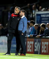 Bristol City head coach Lee Johnson and Bristol City coach John Pemberton - Mandatory by-line: Robbie Stephenson/JMP - 09/08/2016 - FOOTBALL - Adams Park - High Wycombe, England - Wycombe Wanderers v Bristol City - EFL League Cup