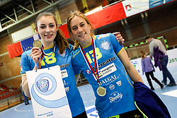Nina Zulic of RK Krim Mercator and Polona Baric of RK Krim Mercator after handball match between RK Zagorje and RK Krim Mercator in Final game of Slovenian Women Handball Cup 2017/18, on April 1, 2018 in Park Kodeljevo, Ljubljana, Slovenia. Photo by Matic Klansek Velej / Sportida