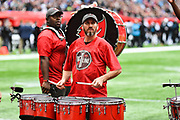 Tampa Bay Bac line drum squad during the International Series match between Tampa Bay Buccaneers and Carolina Panthers at Tottenham Hotspur Stadium, London, United Kingdom on 13 October 2019.