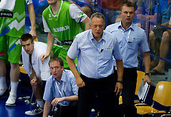 Matej Rojc of Slovenia, Gasper Kolman, Zmago Sagadin, head coach of Slovenia and Dalibor Damjanovic, assistant coach of Slovenia during basketball match between National teams of Turkey and Slovenia in Qualifying Round of U20 Men European Championship Slovenia 2012, on July 17, 2012 in Domzale, Slovenia. Slovenia defeated Turkey 72-71 in last second of the game. (Photo by Vid Ponikvar / Sportida.com)