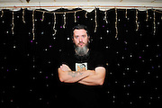 Banner Theatre<br /> 'Lies Damned Lies and Academies' show.<br /> London<br /> Dean Whiskins, audio visual technician.