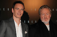 PARIS, FRANCE - APRIL 11:  Michael Fassbender and  Director Ridley Scott attend Prometheus Premiere at Cinema Gaumont Marignan on April 11, 2012 in Paris, France.  (Photo by Tony Barson/Getty Images)