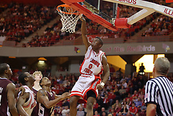 05 January 2008:  Osiris Eldridge finishes off a baseline reverse slam.  It misses. The Redbirds of Illinois State took the bite out of the Salukis of Southern Illinois winning the Conference home opener for the 'birds on Doug Collins Court in Redbird Arena in Normal Illinois by a score of 56-47.