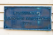 Plaque at Buckman Tavern (Minute Man Headquarters - Est 1709), Lexington, Massachusetts