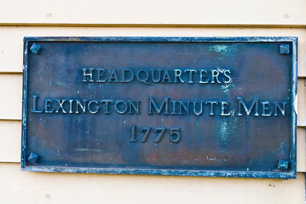 Plaque at Buckman Tavern (Minute Man Headquarters - Est 1709), Lexington, Massachusetts