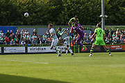 Forest Green Rovers Omar Bugiel(11) heads the ball scores a goal 4-3 during the EFL Sky Bet League 2 match between Forest Green Rovers and Yeovil Town at the New Lawn, Forest Green, United Kingdom on 19 August 2017. Photo by Shane Healey.