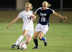 Virginia Cavaliers forward Maggie Kistner (16) batles with Georgetown Hoyas midfielder Caitlin Durkee (19).  The #6 Virginia Cavaliers played the Georgetown Hoyas to a 2-2 draw in a NCAA Women's Soccer pre-season exhibition game held at Klockner Stadium on the Grounds of the University of Virginia in Charlottesville, VA on August 18, 2008.