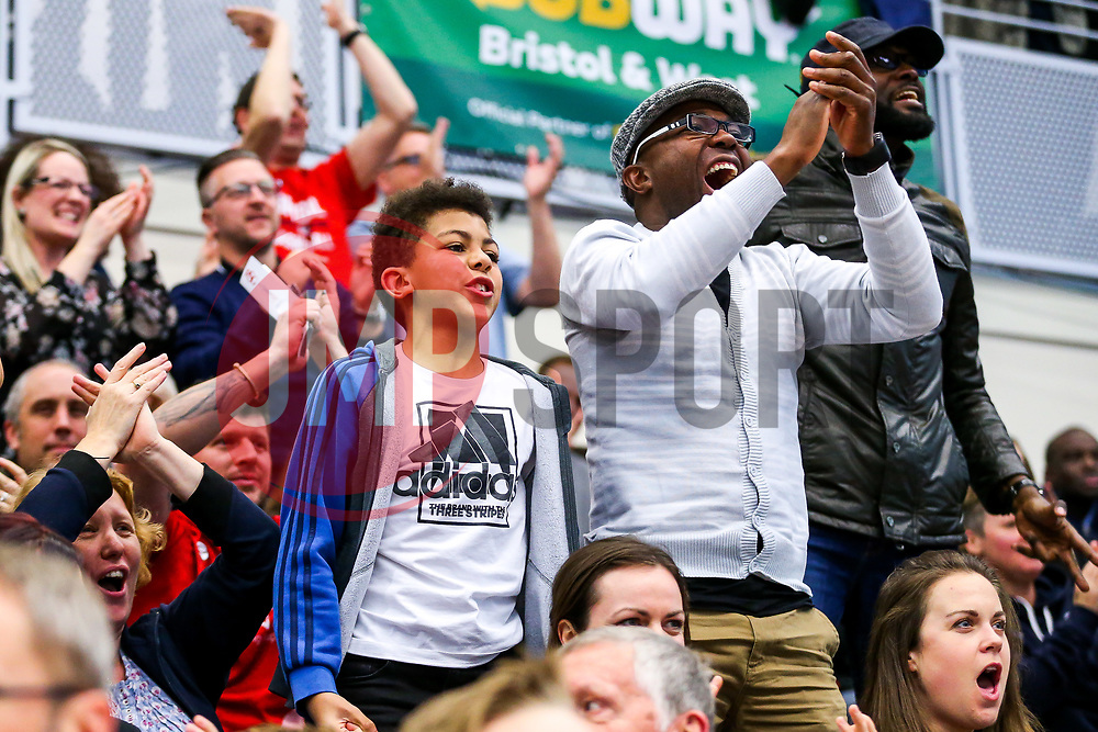 Bristol Flyers fans celebrate the win - Rogan/JMP - 11/11/2017 - BASKETBALL - SGS Wise Arena - Bristol, England. - Bristol Flyers v Glasgow Rocks - British Basketball League.