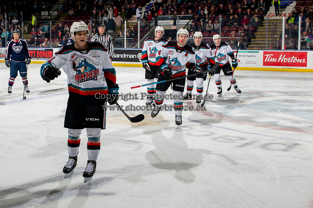 KELOWNA, BC - FEBRUARY 12: Pavel Novak #11, Kyle Topping #24, Mark Liwiski #9, Tyson Feist #25 and Conner McDonald #7 of the Kelowna Rockets skate to the bench to celebrate a third period goal against the Tri-City Americans at Prospera Place on February 8, 2020 in Kelowna, Canada. (Photo by Marissa Baecker/Shoot the Breeze)