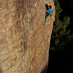 Jeremiah Meizis from the Colorado Climbing Company climbing at Shelf Road, Colorado