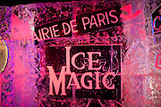 Paris, France. 19 Novembre 2010. Exposition Ice Magic. Sculptures sur glace sur les Champs Elysées du 20 Novembre au 3 Janvier 2011 dans un pavillon refrigere a moins 6 degres.<br /> Les chiffres: 20 artistes sculpteurs internationaux, 420 tonnes de glace, 100 tonnes de neige, 12 jours de travail, 500 metres carres d'exposition, -6º.<br /> Paris, France, November 19th 2010. Ice Magic exhibition. Ice sculptures on the Champs Elysees from November 20th to January 3rd 2011 with a temperature of minus 6 degres celsius.<br /> The numbers: 20 sculptors artists from around the world, 420 tons of ice, 100 tons of snow, 12 days of work, 500 square meters of exhibitions, -6º celsius