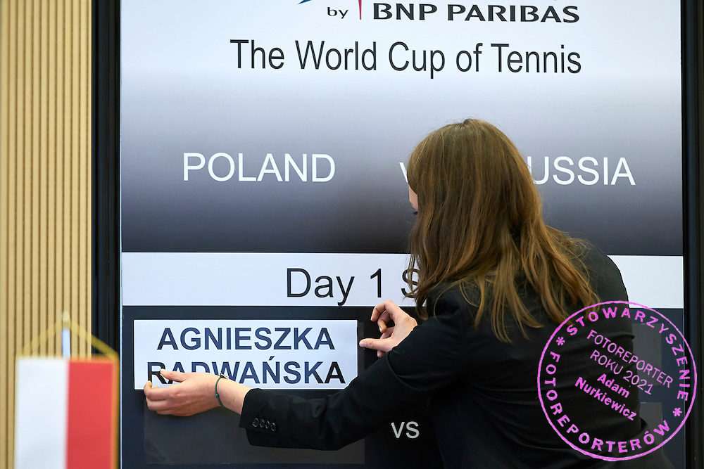Official board with Agnieszka Radwanska's name during official draw one day before the Fed Cup / World Group 1st round tennis match between Poland and Russia at Holiday Inn on February 6, 2015 in Cracow, Poland.<br /> <br /> Poland, Cracow, February 6, 2015<br /> <br /> Picture also available in RAW (NEF) or TIFF format on special request.<br /> <br /> For editorial use only. Any commercial or promotional use requires permission.<br /> <br /> Adam Nurkiewicz declares that he has no rights to the image of people at the photographs of his authorship.<br /> <br /> Mandatory credit:<br /> Photo by &copy; Adam Nurkiewicz / Mediasport
