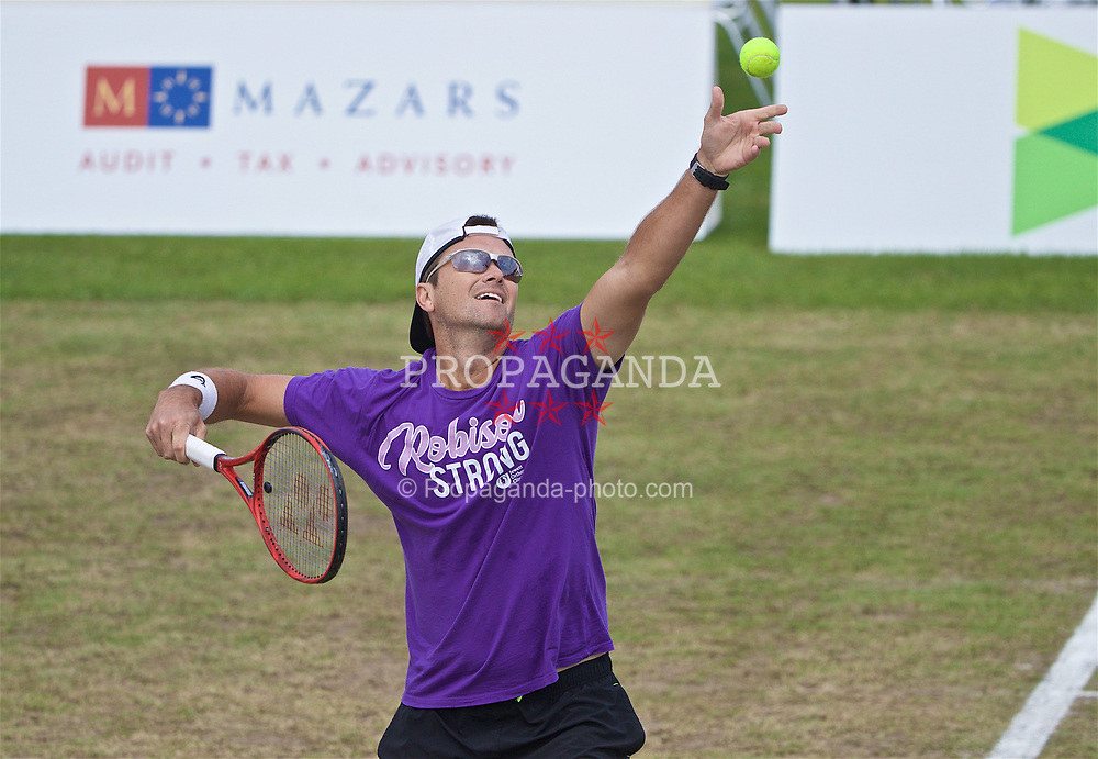LIVERPOOL, ENGLAND - Sunday, June 23, 2019: Robert Kendrick (USA) serves during Day Four of the Liverpool International Tennis Tournament 2019 at the Liverpool Cricket Club. (Pic by David Rawcliffe/Propaganda)