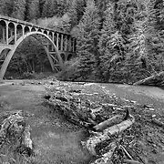 Haceta Head Bridge - Oregon Coast - HDR - Black & White