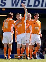 Photo: Daniel Hambury.<br />Southend United v Blackpool. Coca Cola League 1. 08/04/2006.<br />Blackpool's Gareth Williams celebrates his goal. 0-1.
