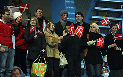 Denmark fans are celebrating during the UEFA Friendly match between national teams of Slovenia and Denmark at the Stadium on February 6, 2008 in Nova Gorica, Slovenia. Slovenia lost 2:1. (Photo by Vid Ponikvar / Sportal Images).