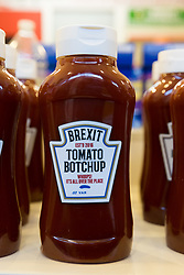 © Licensed to London News Pictures. 23/11/2018. London, UK.  'Brexit Tomato Botchup' ketchup on a shelf inside the People's Vote campaign stunt pop-up shop in Peckham High Street on Black Friday to show that the government's Brexit deal is a bad deal and the shop is stocked with household products, such as 'chlorinated' chicken to illustrate the bad deal. Photo credit: Vickie Flores/LNP
