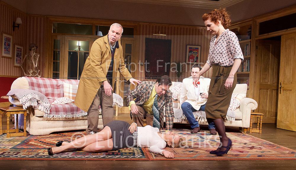 Dead Funny<br /> by Terry Johnson<br /> at the Vaudeville Theatre, London, Great Britain  Press Photocall<br /> 1st November 2016 <br /> <br />    <br /> <br /> <br /> <br /> Steve Pemberton as Brian <br /> <br /> <br /> Emily Berrington as Lisa - on floor <br /> <br /> Rufus Jones as Richard <br /> <br /> Ralf Little as Nick <br /> Katherine Parkinson as Eleanor <br /> <br /> Photograph by Elliott Franks <br /> Image licensed to Elliott Franks Photography Services