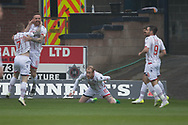 Ross County's Liam Boyce (centre) celebrates after opening the scoring - Dundee v Ross County, in the Ladbrokes Scottish Premiership at Dens Park, Dundee, Photo: David Young<br /> <br />  - &copy; David Young - www.davidyoungphoto.co.uk - email: davidyoungphoto@gmail.com