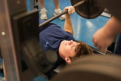 27 November 2007: North Carolina Tar Heels men's lacrosse Kevin Piegare during a weight lifting session in Chapel Hill, NC.