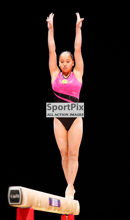 2015 Artistic Gymnastics World Championships being held in Glasgow from 23rd October to 1st November 2015...Aida Bauyrzhanova (Kazakhstan) competing in the Balance Beam competition...(c) STEPHEN LAWSON | SportPix.org.uk