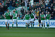 4th November 2017, Easter Road, Edinburgh, Scotland; Scottish Premiership football, Hibernian versus Dundee; Hibernian's Martin Boyle celebrates after scoring for 1-0