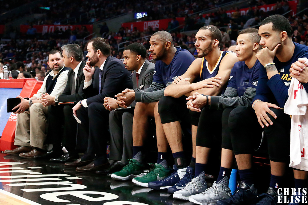 25 March 2016: Utah Jazz center Boris Diaw (33), Utah Jazz center Rudy Gobert (27), Utah Jazz guard George Hill (3) are seen on the bench during the Los Angeles Clippers 108-95 victory over the Utah Jazz, at the Staples Center, Los Angeles, California, USA.