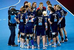 Team of Slovenia with head coach Ivica Rimanic at Women European Championships Qualifying handball match between National Teams of Slovenia and Belarus, on October 17, 2009, in Kodeljevo, Ljubljana.  (Photo by Vid Ponikvar / Sportida)
