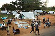 Tents where villagers have been displaced by floods near the village of Kpoto, Benin on Tuesday October 26, 2010. Waters have receded in Kpoto, but most of the village was literally flattened by floods that have hit Benin over the past few weeks. Almost all of the village's 1500 people have moved to a location near the local church, located about 500 meters away, where they now live in basic shelters.