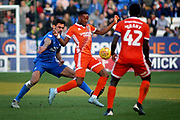 Shrewsbury Town forward Tyrese Campbell (11) controls the ball in front of Peterborough Utd defender Ryan Tafazolli (5) during the EFL Sky Bet League 1 match between Peterborough United and Shrewsbury Town at London Road, Peterborough, England on 23 February 2019.