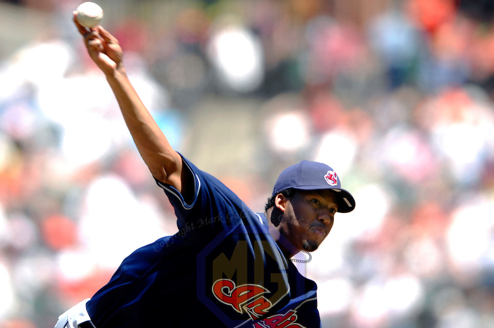 07 May 2007:  Cleveland Indians pitcher Fausto Carmona pitches in the 3rd inning against the Baltimore Orioles at Orioles Park at Camden Yards in Baltimore. Carmona went seven innings and did not give up an earned run as the Indians defeated the Orioles 10-1   ****For Editorial Use Only****