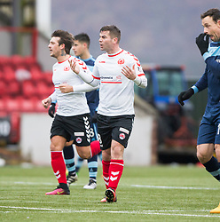 Clyde's Peter MacDonald cele scoring their first goal. Clyde 2 v 2 Forfar Athletic, Scottish League Two game played 4/3/2017 at Clyde's home ground, Broadwood Stadium, Cumbernauld.