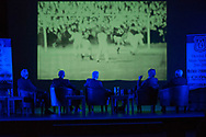 Lawrie Smith, Pat Liney, Craig Brown, Ian Ure and Alan Gilzean watch highlights of Dundee's 3-0 win over St Johnstone to secure the 1962 Scottish title  - Dundee FC night of champions at the Whitehall Theatre, Dundee, Photo: David Young<br /> <br />  - &copy; David Young - www.davidyoungphoto.co.uk - email: davidyoungphoto@gmail.com