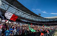ROTTERDAM - Feyenoord - Heracles , Voetbal , Seizoen 2016/2017 , Eredivisie , Stadion Feyenoord - De Kuip , 14-05-2017 , Kampioenswedstrijd , eindstand 3-1 , Fans vieren het kampioenschap vlak voor het laatste fluitsignaal