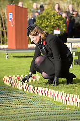 Dignitaries place crosses in the Royal Wootton Bassett Field of Remembrance at Lydiard park, Swindon, as it opens to honour and remember those who have been lost serving in the Armed Forces.