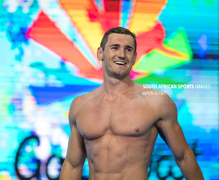 GOLD COAST, AUSTRALIA - APRIL 09: Cameron van der Burgh during Men's 50m Breaststroke on day 5 of the Gold Coast 2018 Commonwealth Games at Gold Coast Aquatic centre on April 09, 2018 in Gold Coast, Australia. (Photo by Anton Geyser)
