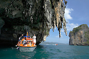 Star Flyer passengers visit limestone rock islands at Phang Nga Bay by Zodiac and tender boat.