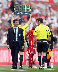 04.06.2011, Wembley Stadium, London, ENG, UEFA EURO 2012, Qualifikation, England vs Switzerland, im Bild Fabio Capello manager of ENGLAND argues with linesman    during England vs Switzerland  for the UEFA 2012  Group G at the Wembley Stadium  in London    on 04/06/2011. EXPA Pictures © 2011, PhotoCredit: EXPA/ IPS/ Marcello Pozzetti +++++ ATTENTION - OUT OF ENGLAND/UK and FRANCE/FR +++++